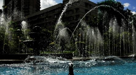 中心花园的喷泉
